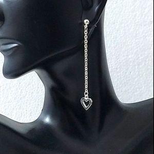 Silvertone Minimalist Heart Dangle Earrings
